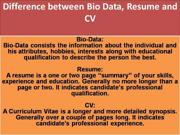 Difference between resume curriculam vitae and bio data Dream and